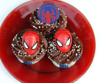 24 Spider-man face and logo cupcake rings picks cake toppers, great for super hero boy sugergirl birthday party or as treat bag favors