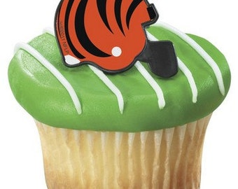 24 Cincinnati Bengals NFL helmet cupcake rings picks cake toppers football fan birthday tailgate party fall sports super bowl, team bachelor