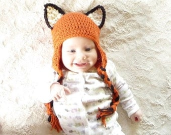 Crochet Fox Hat CROCHET PATTERN Crochet Earflap Hat Pattern Crochet Ear Flap Hat Baby Earflap Hat Animal Ear Flap Hat Baby Ear Flap Hat