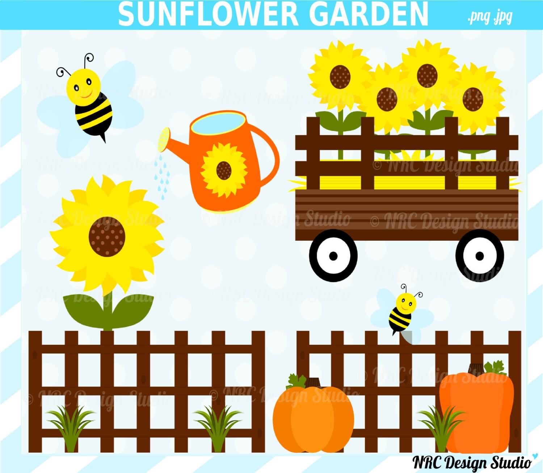 FINAL SALE Sunflower Garden Clip Art Cute Fall by ...