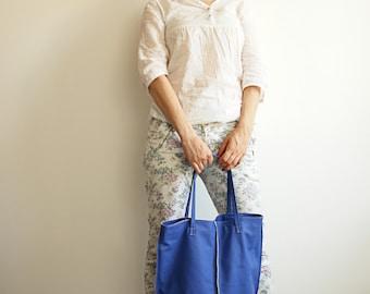 Royal Blue Shopper Tote Bag Leather shopper bag