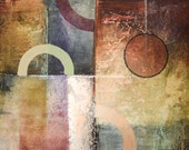 Original abstract painting with circles, textures and deep colors.