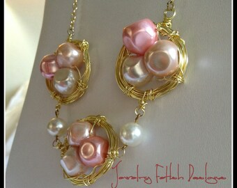 Gold & Pearl Nest Necklace - Energizer