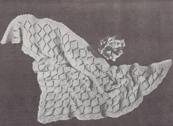 Vintage Leaf Knitting Pattern : Triangular Leaf Shawl 1950s Knit Christening Baptism Afghan