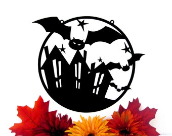 halloween sign bats halloween decor metal sign metal wall art outdoor - Metal Halloween Decorations