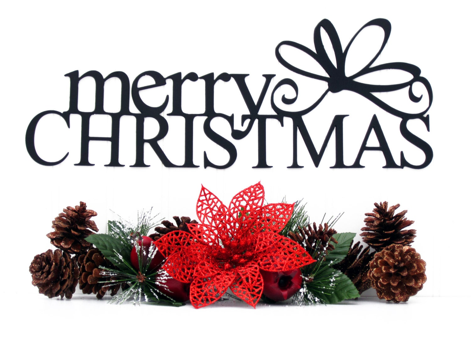 Merry christmas metal sign with bow black xmas