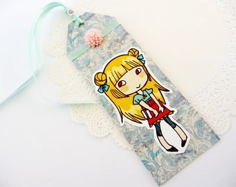 Cutie Girl with books - paper bookmark