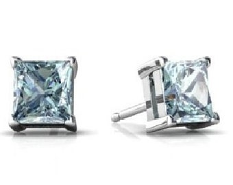 1 Ct Aquamarine Princess Cut Stud Earrings .925 Sterling Silver