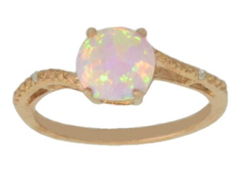 14Kt Rose Gold Plated Pink Opal & Diamond Round Ring