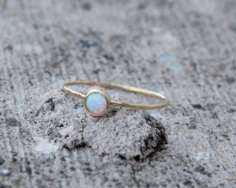 14k Gold Opal Ring, October Birthstone Stacking Ring in Gold