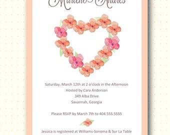 Bridal Shower Invitation, peach, orange, flowers, hearts, classic, modern, pink, bride, digital, printable, invite BW1453