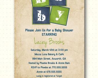Baby Shower Invitation, sprinkle, gender neutral, boy, girl, shabby chic, vintage, gender reveal, gingham, digital, printable, B1445
