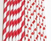 25 Valentines Hearts stripe straws paper straws birthday party wedding cake pop sticks Bonus diy straw flags