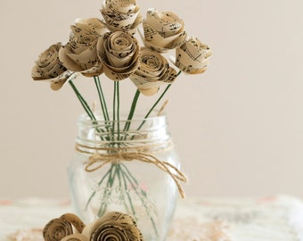 10 x Small Music Paper Rose Stems