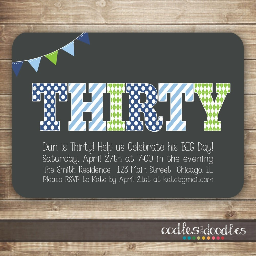 30th Birthday Invitation for Men Thirty 40th 50th Birthday – Male 30th Birthday Invitations
