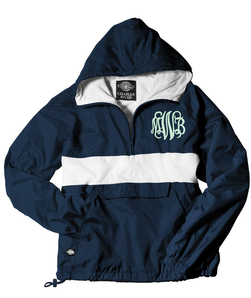 monogrammed pullover rain jacket lined with a hood navy and