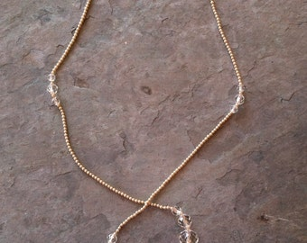 Vintage Crystal & Faux Pearl Lariat Necklace