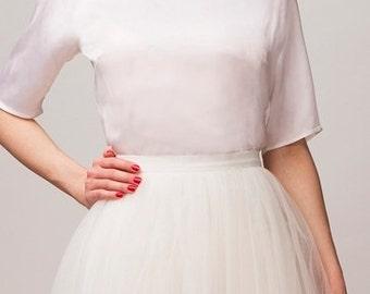 Ecru silk blouse,Handmade silk blouse,Ecru silk top,Handmade silk top, 100% silk blouse,Casual silk top,Bridesmaids blouse,Bridesmaids top