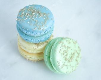 French Macaron Cookies 36 Baby Boy Trio Macaroons Gift Splendid Sweet