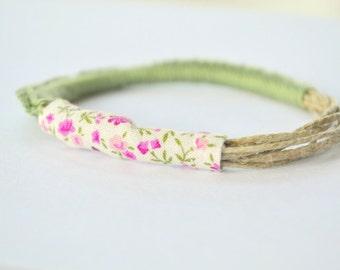 Floral bracelet textile jewelry green crochet bangle natural summer bracelet pantone greenery romantic bracelet