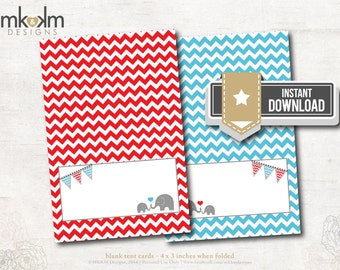 Elephant Baby Shower :Tent Cards - Place Cards - Food Card - Birthday - INSTANT DOWNLOAD - #1202 Red and Blue Chevron