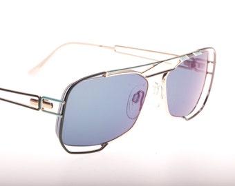Unique Neostyle squared hale rimmed avant garde flat top enamelled black & blue on gold sunglasses