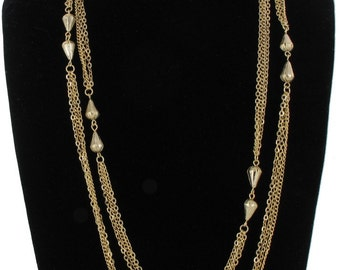 """Teardrop Bead Mixed Chain Necklace Yellow Gold Tone Long Necklace 53"""" Vintage 60s"""
