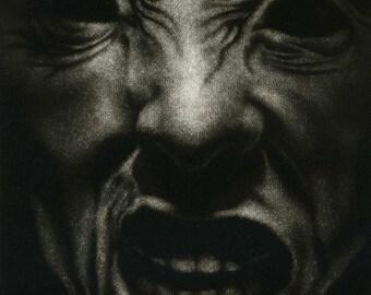 """Macabre Face Intaglio Print, """"Hiding No. 17"""""""
