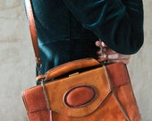 Genuine leather vintage shoulder bag/ caramel brown  tan shoulder bag by North bag