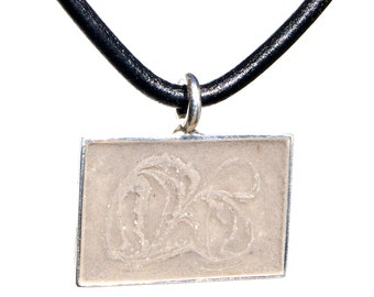 Rectangular Pet Cremation Pendant - Sterling Silver Pendant with Solidified Ashes