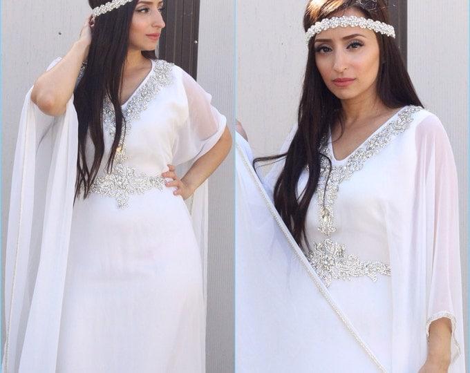 "Yara Yosif bridal ""Halla"" - all white Henna wedding Kaftan caftan abaya"