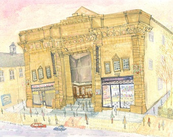PICTURE HOUSE CINEMA, Hebden Bridge Yorkshire, Limited Edition Giclee Print from watercolour / 1950's Milk Bar/ Clare Caulfield/