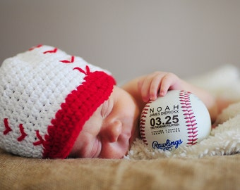 Personalized Baseball Birth Announcement, Baby Boys Gift, Engraved Baseball Custom Baseball, Sports Nursery Typography, Monogrammed Baseball