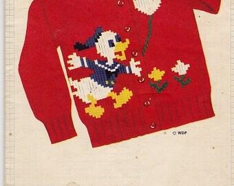 1954 punto gráfico patrón - DONALD DUCK suéter - Raglan, chaqueta y Jersey tricot a tamaño natural - niños y niñas tallas 2 a 8 - Disney