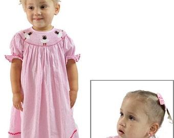 Pink and White Gingham Smocked Ballerina Bishop Dress