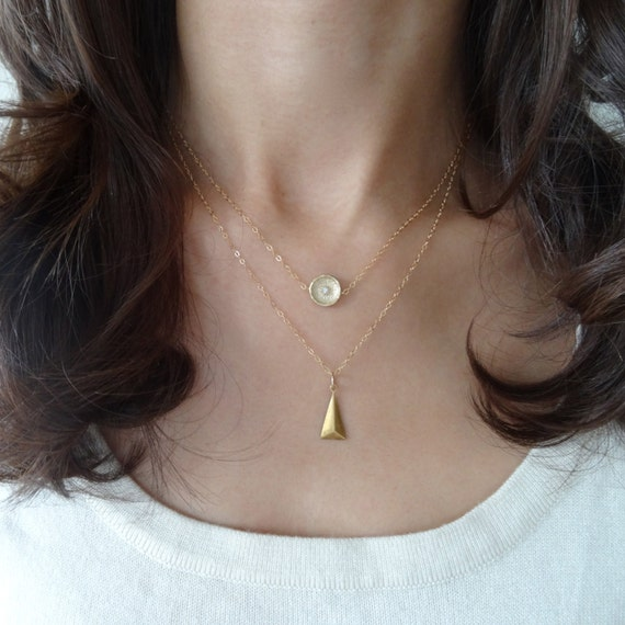 Gold Circle and Triangle Geometric Layer Necklace