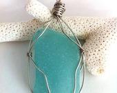 Frosty Blue Sea Glass Wire- Wrapped Pendant Necklace, Genuine Okinawa Sea Glass