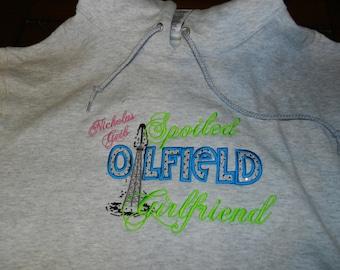 Spoiled Oilfield Girlfriend Wife 50/50 Heavy Blend Pullover Hoodie Sweatshirt