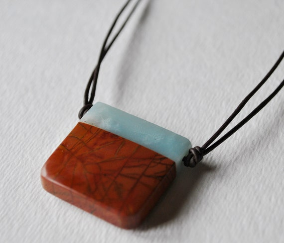 Men's Amazonite and Red Creek Jasper Pendant on black leather cord necklace simple, boho, minimalist, geekery