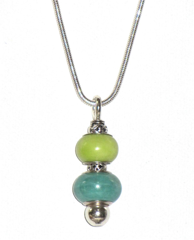 bead pin pendant necklace european style silver