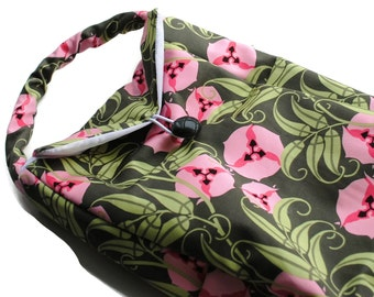 Reusable Lunch Bag Insulated Amy Butler Pansies Green Pink Lunch Tote