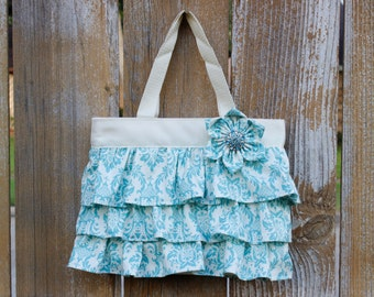 Ruffled Canvas Tote Bag 50 Shades of Blue Little Girl Purse, Diaper Canvas Tote, Canvas Diaper Purse