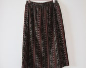 Vintage Camo and Stripe Patterned A-line Skirt