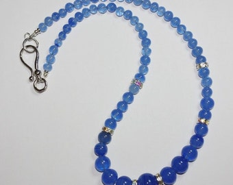 Vintage Blue Glass Beads and Rhinestone Necklace   -                   S304