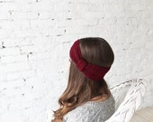 Oxblood burgundy crochet headband, hand knotted ear warmer, gift for her, warm accessory, turban headband