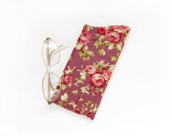 Roses Eyeglass Case, Pink Flowers Eyewear holder