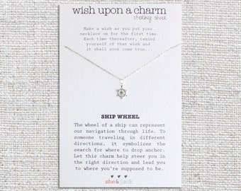 SHIP WHEEL - Wish Necklace - Sterling Silver Charm & Chain