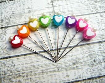 SALE!!!  8 Mini Heart Decorative Valentine Beaded 1.5 inch Stick Pins - Sewing Pins - Scrapbook Cardmaking Embellishment Pins - SPB3