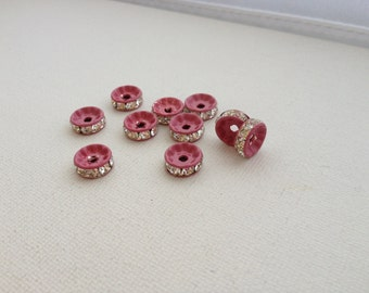 10 - 10mm Pink Painted Crystal Rhinestone Rondelle Spacers