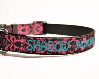 "Personalized Dog Collar - 1"" wide - Pink/black Damask - Pets - Adjustable Dog Collar - made to order"